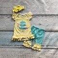 Детские Пасхальные дизайн хлопка Девочек детская одежда желтый цыпленок полосы твердые буле оборками капри с подходящими аксессуарами лук
