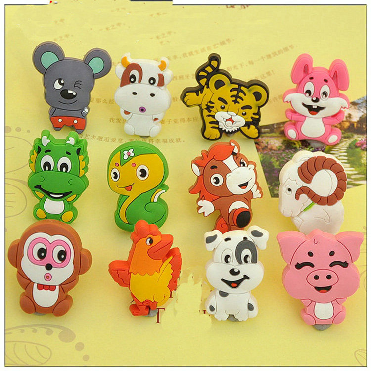 Chinese Zodiac Silicon Rubber Kids Furniture Knobs Cartoon Drawer Door Wardrobe Pull Handle for Kids робот zodiac ov3400
