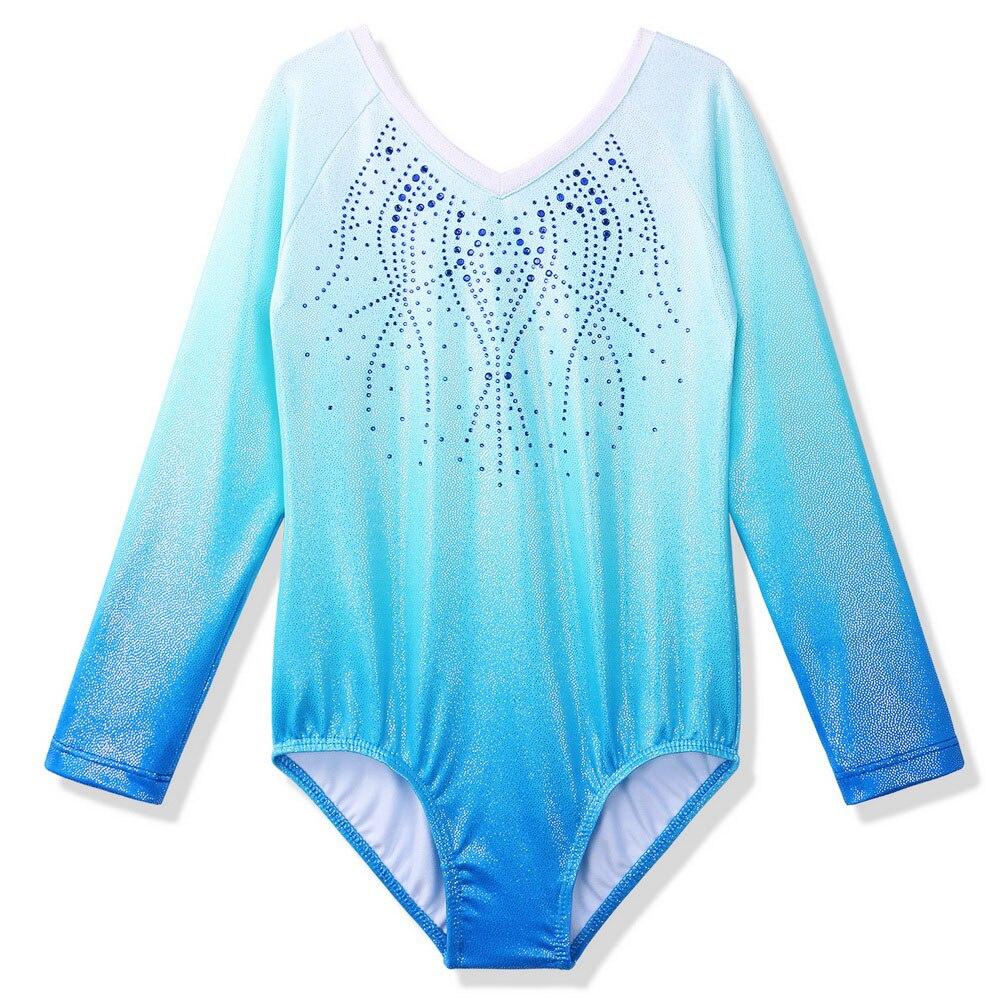 Baohulu 소녀를위한 새로운 긴 소매 체조 레오타드 어린이 그라디언트 블루 댄스 의상 unitards kids ballet dance wear