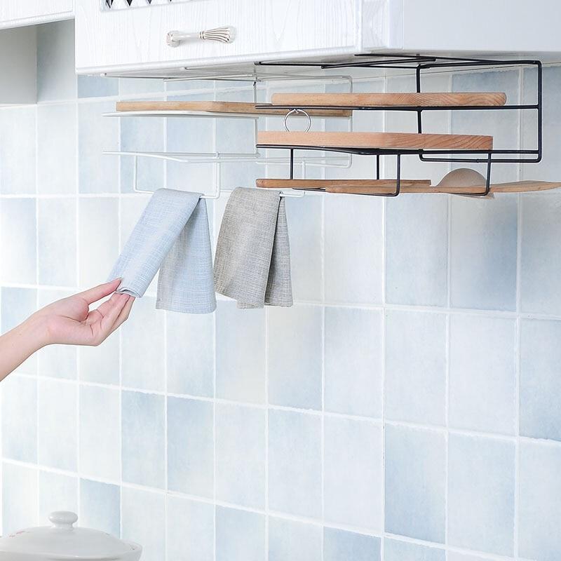 Kitchen Storage Organization Shelves Dish Rack Holder Kitchen Cabinets Accessories Towel Holders Hook Storage Iron Metal Rack