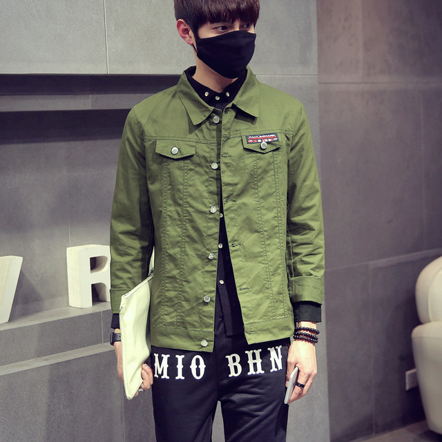 2016 Autumn Men's Ripped Denim Jackets Coats Bomber Psg Bape Army ...