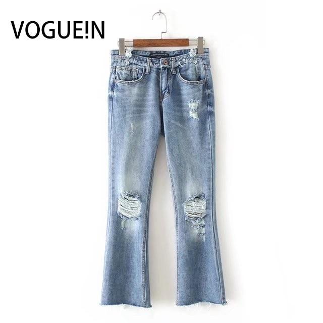 Vogue N Neue Frauen Damen Fashion Löcher Alte Machen Blue Denim