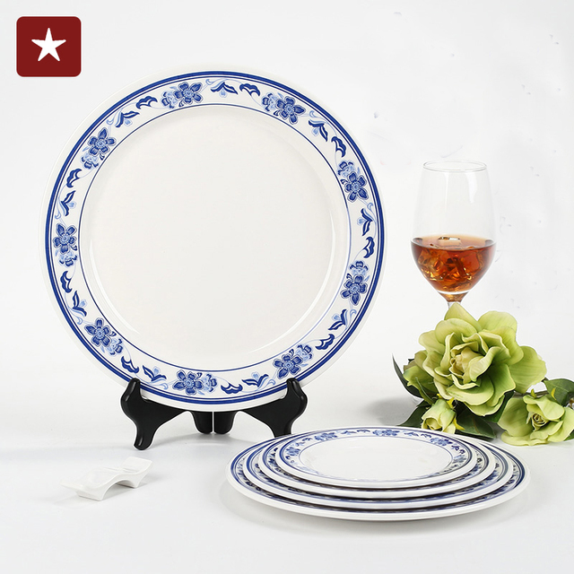 Blue and white plates Increasing the thickness of the melamine plate round Western-style High  sc 1 st  AliExpress.com & Blue and white plates Increasing the thickness of the melamine plate ...