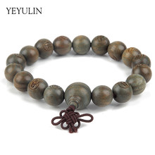 11mm Tibetan Jewelry Carved Buddha Statue Green Sandalwood Prayer Beads Bracelet For Woman Man Lucky Gift Religion Charm(China)