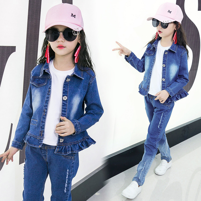 Girls Cowboy Suit Jeans for Girl Classic Floral Costume Fold Denim Jacket Teenage Girls Clothes Winter Children Kids Clothing 2018 autumn winter denim kids clothes embroidery floral jacket jeans 2pcs girls spring teenage girls clothing 6 8 10 12 years