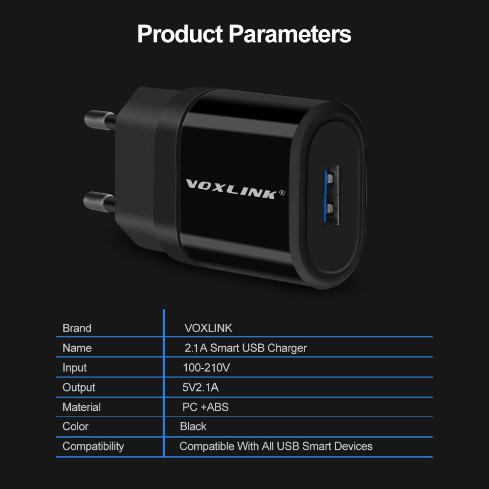 Купить с кэшбэком VOXLINK USB charger 5V 2.1A Universal Portable Travel Wall Charger for iPhone X/8/7 Plus /6s Plus, iPad Pro/Air,Samsung Galaxy