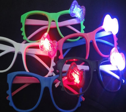 Light Up Toys 24pcs cat led glasses flashing stall toy goods LED glass party decoration LED+6pcs finger ring