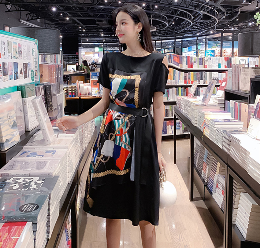Fashion Summer Women Casual Dress High Street Print Belt Short Sleeve Loose Dress Sexy Off Shoulder Patchwork Hit Color Dress 6