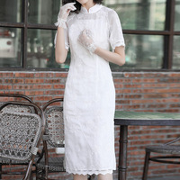 White Dress Chiffon Improved Embroidered Cheongsam 2019 Spring And Summer New Ladies Stand Collar Short Sleeved Slim Split Dress