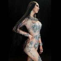Christia Bella сексуальные костюмы с кристаллами стрейч тощий боди со стразами Для женщин трико телесного цвета для ночного клуба Стадия полюс та