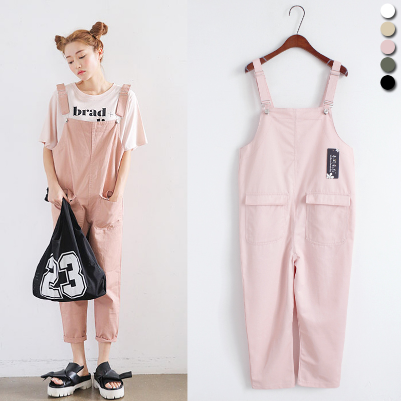 2018 Women'S Harajuku College Wind Summer Vacation Leisure Pocket Student Belt Playsuits And Female Kawaii   Jumpsuits   For Women