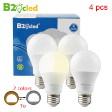 4 pcs LED lamp bulb 2 light colors change E27 9W 90-265V 110V 220V 850lm dimmable warm white ball Lampada Bombilla desk