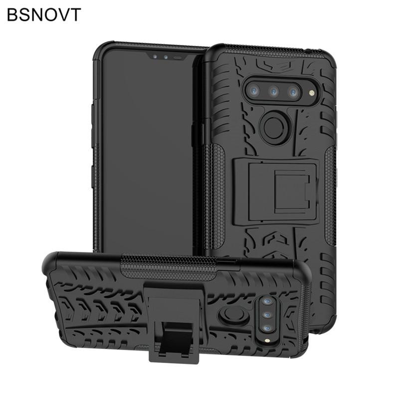 For LG V40 Case Soft Silicone + Plastic Armor Bumper Anti-knock Phone Cover ThinQ Funda BSNOVT