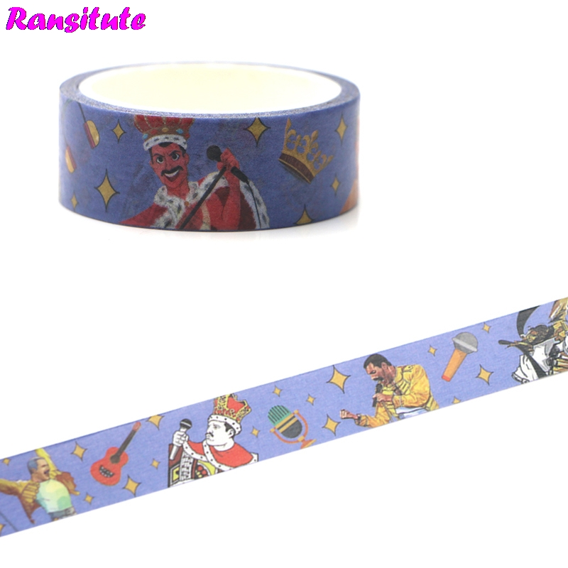 Ransitute R454 Freddie Mercury Washi Paper Tape Manual DIY Decorative Paper Tape PDA Detachable Tape Stickers