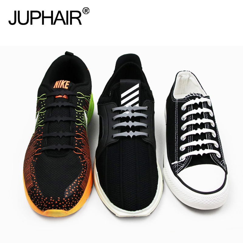 JUP1 Set 12 Roots Men No Tie Shoelaces Rubber Slip Silicone lazy laces Cool Bats Laces Adult-free Elastic Laces Patented Product jup 3 set 12root set noctilucent laces tie elastic silicone mens women fluorescent flash sneakers sports runnings shoelaces