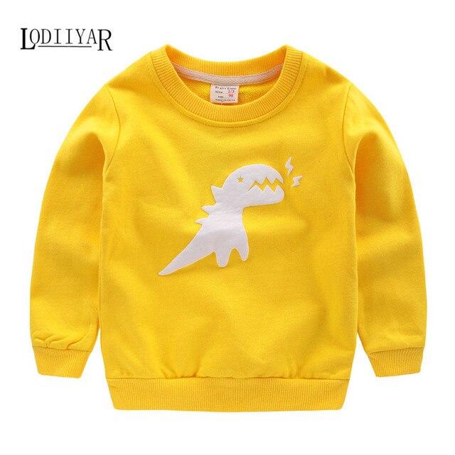 2017 Детская Одежда, хлопок Верхняя Одежда Пуловер С Длинным Рукавом Мальчиков Одежда, животное Динозавров Рисунок Футболка Дети Мальчиков Одежда