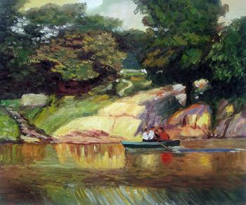 Wholesale Landscape Painting Boating in Central Park Edward Potthast Canvas Art for Living Room Wall Decoration Hand Painted