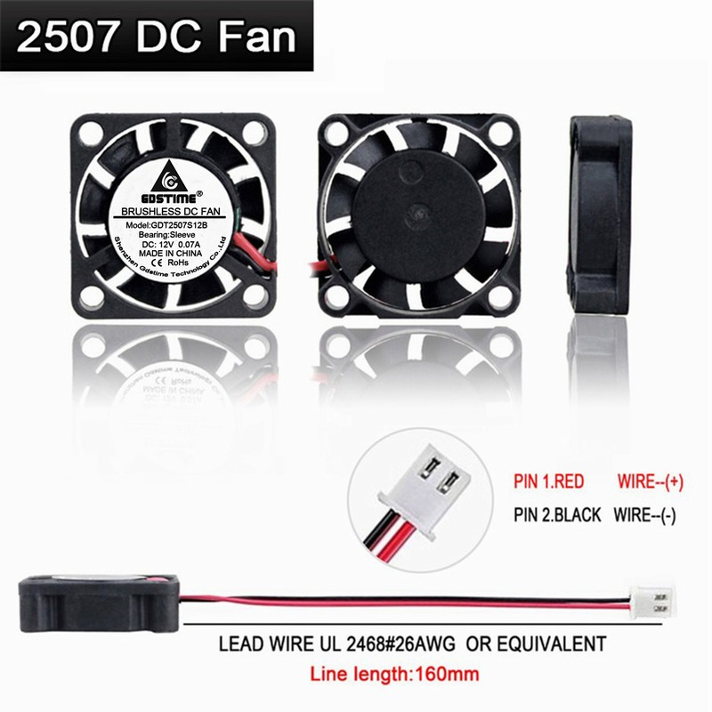 5V Mini 25mm 7mm Cooling Fan 25x25x7mm Brushless Small Cooler Fan 2pin Sleeve