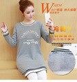 Maternity Clothes Pregnancy Nursing Dresses Women Fashion velvet O-neck solid Long Sleeve Pleated Breast Feeding Dress