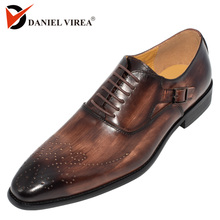 Leather Buckle Strap Handmade Mixed Color Brogue Formal Pointed Toe Oxfords Mens Shoe
