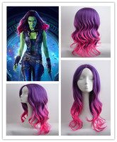 Hot Movie Guardians Of The Galaxy Gamora Cosplay Wig Halloween Play Wig Gradient Color Long Hair