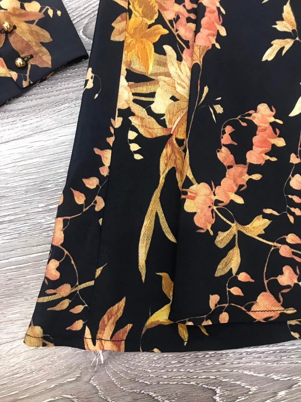 Blackjonquil Poignets Jonquille Imprimé Beige Blouson Soie Et Floral Basque Noir Débridé Robe Bouton Mini Femmes Mélange ESUaxZwqS