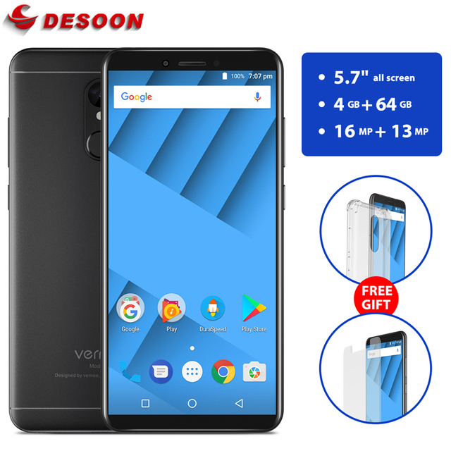 Vernee M6 5.7 inch 18:9 Screen 4G RAM 64G ROM Mobile Phone MT6750 Octa core Android 7.0 16MP Cell Phone 4G LTE Smartphone