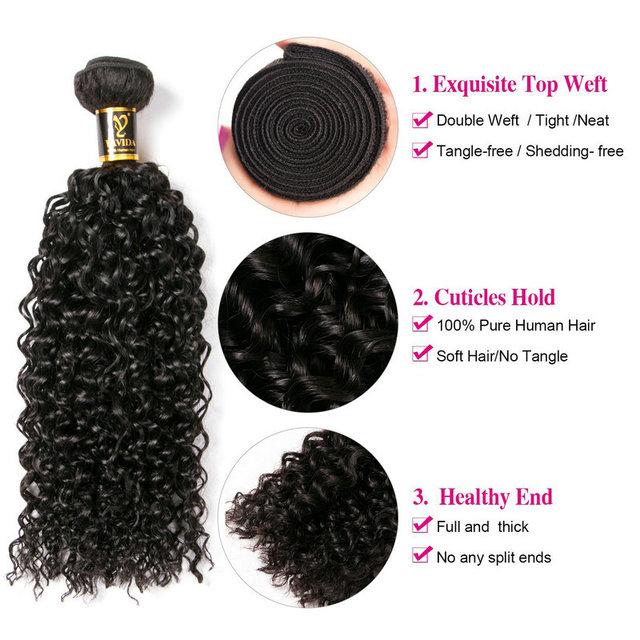 Yavida Malaysian Hair Kinky Curly Extensions Human Hair Weaving Bundles Natural Color 1/3/4pc 100g Non-Remy Curly Hair Bundles