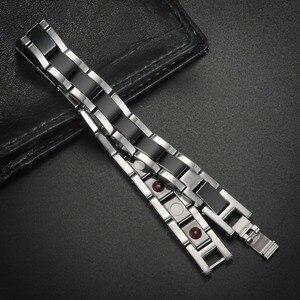 Image 4 - Moocare femmes hommes bracelet en acier inoxydable mâle femelle en céramique or argent couples magnétiques Germanium bracelets réglables