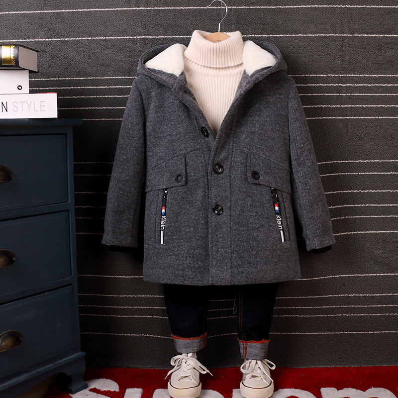 Childrens Clothing Boys Wool Coat 2018 New Woolen Coat Autumn and Winter Fashion Hooded Long Jacket Plus Velvet Thick