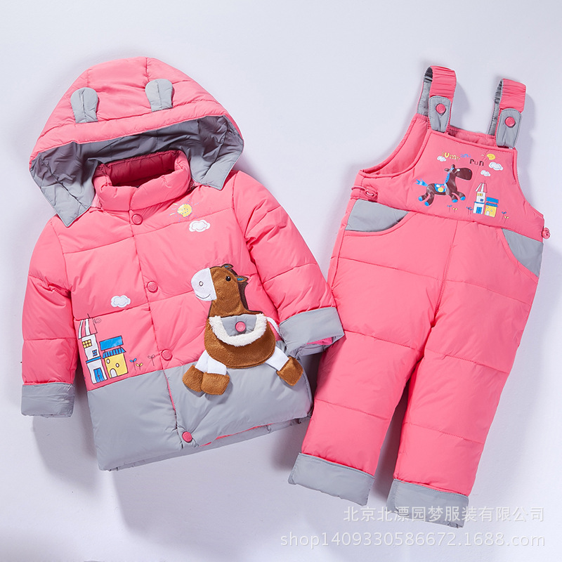 Multicolor 2017 Winter Children Down Clothing Set  2 PCS Coat + Trousers Winter Kids Down Suits Boys & Girls Hooded Outerwear 2 pcs children set baby boys girls clothing sets winter hooded down jackets trousers waterproof thick warm kids outerwear xl242