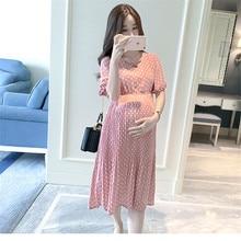 Lato luźna szyfonowa oczekująca matka sukienka na co dzień kobiety w ciąży ubrania oddychająca sukienka macierzyńskiego z krótkim rękawem