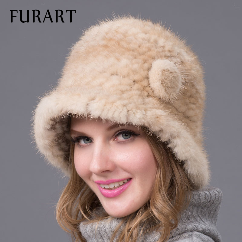 New Winter Fur Hat for Women Real Mink Fur Hats Woven mink fur hat Flower Warm Female Knitted Fedoras Caps good quality