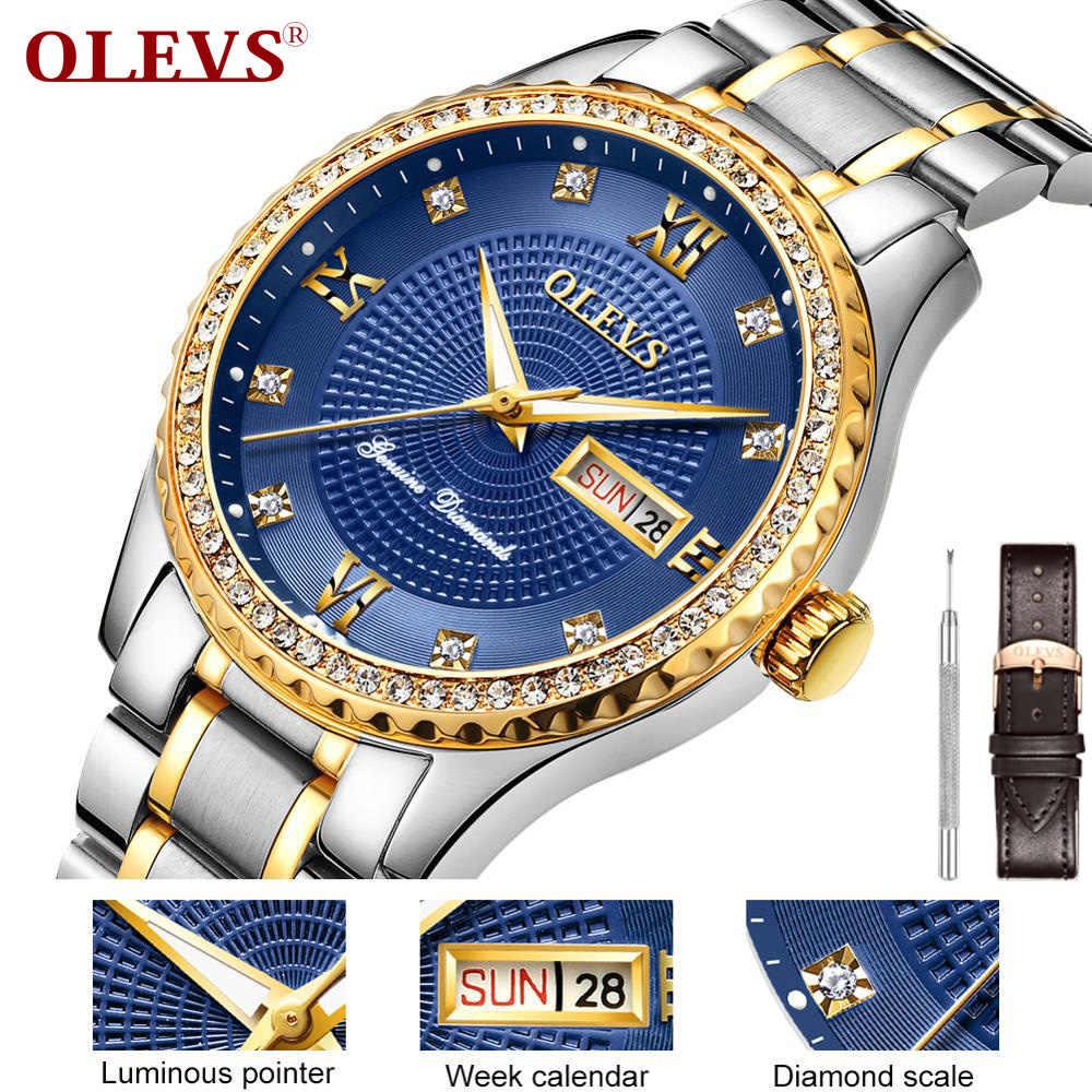 2936397a3b11 Reloj de diamantes de lujo OLEVS reloj de calendario de la semana reloj de  hombre reloj