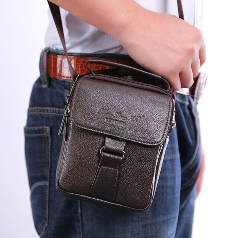 2019 Men Leather Messenger Shoulder Cross Body Bag Fanny Waist Bags Leisure Tote PurseCigarette Case Cell Phone Pocket