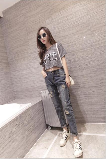Ship from Russia Ripped patch Jeans Woman Denim Pants Trousers For Women Pencil Jeans withe spandex