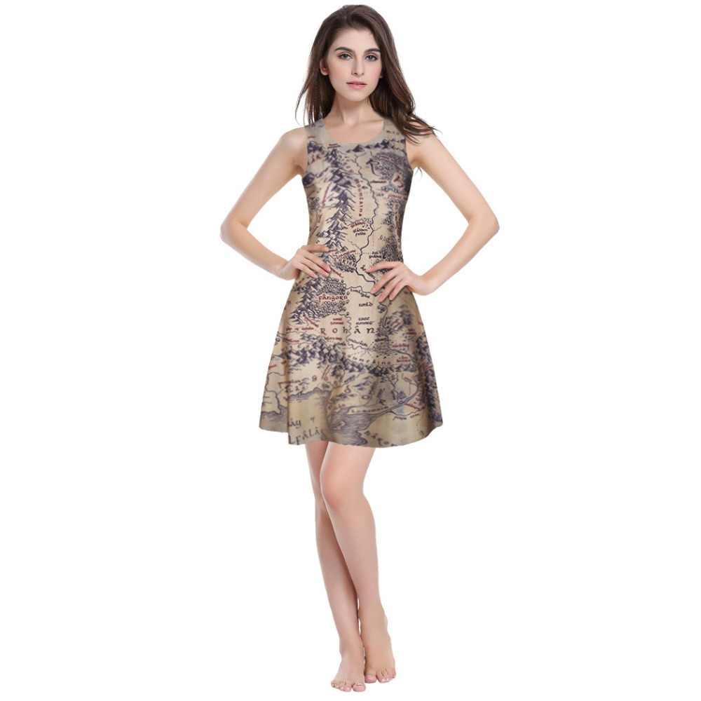 ファッション 3D グラフィック主リングプリントミドルアースの地図スケーター双方向一重ドレスノースリーブ夏のドレス