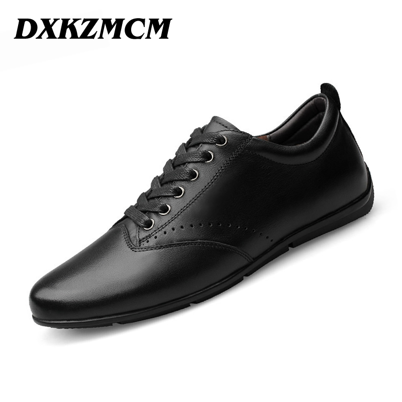 DXKZMCM Men Casual Shoes Lace-up Cow Leather Men Flats Shoes Breathable Dress Oxford Shoes For Men Chaussure Homme top brand high quality genuine leather casual men shoes cow suede comfortable loafers soft breathable shoes men flats warm