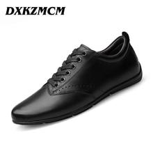 DXKZMCM Men Casual Shoes Lace-up Cow Leather Men Flats Shoes Breathable Dress Oxford Shoes For Men Chaussure Homme