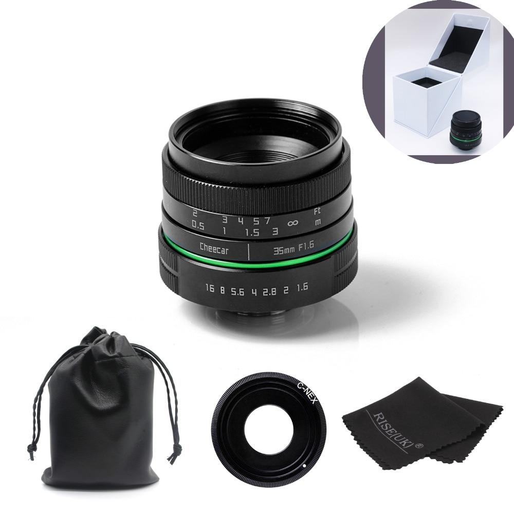New green circle 35mm APS-C CCTV camera lens For Sony NEX Camera NEX-6,NEX-5R,NEX-F3,with C-NEX adapter ring +bag +gift +big box цена