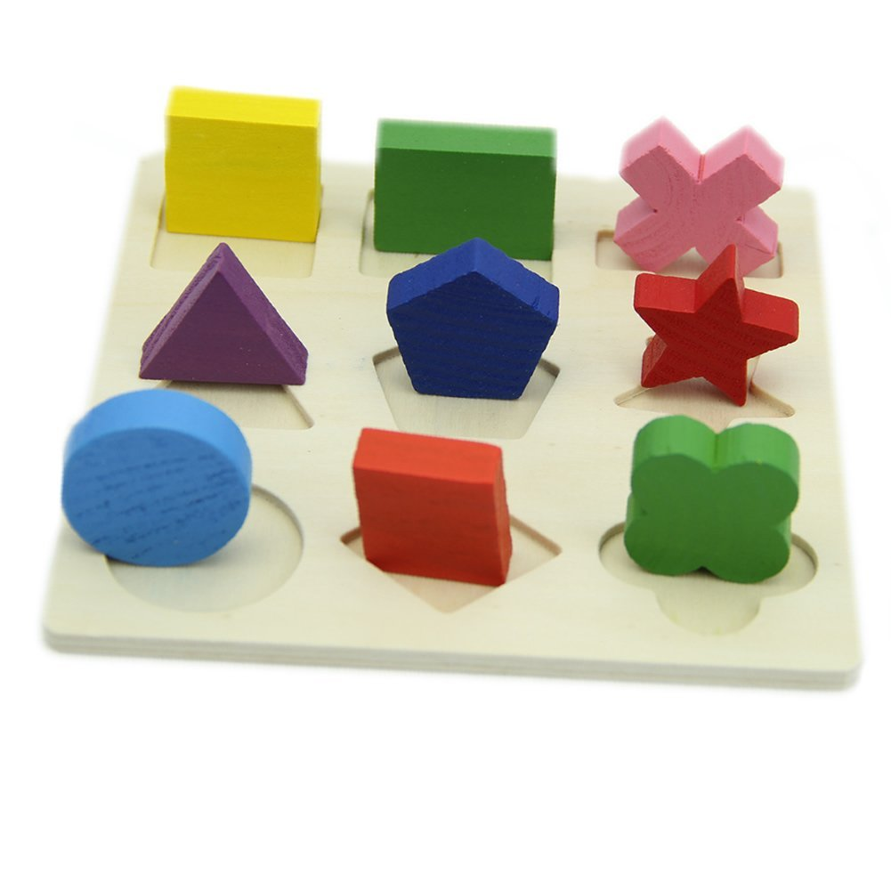 Educational Baby Kids Wooden Geometry Learning Educational Toy Block Montessori Early