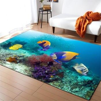 3D Ocean Fishes Rug Carpet Children Room Decor Mat Anti-slip Soft Bedroom Living Room Cartoon Seahorse Baby Crawling Carpets фото