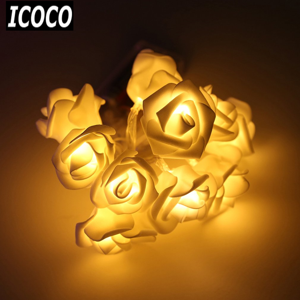 ICOCO Wedding white Roses LED String Lights 1.2m 10 LEDs Best Gift for Birthday Party Events Christmas Lightings Casamento Decor