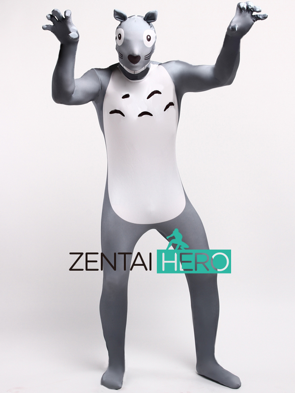 Free Shipping DHL Printing Lycra Spandex Cartoon Totoro Cute Cosplay Zentai Super Funny Halloween Lycra Events Costume LZ112227