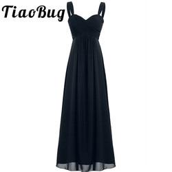 2017 TiaoBug 4 colores Formal hasta el tobillo vestido de dama de honor sin tirantes fiesta de boda Sexy cuello en V blanco negro azul marino vestido