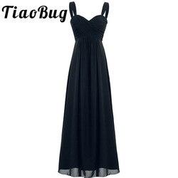 2017 tiaobug 4 cores formal tornozelo-comprimento vestido de dama de honra sem mangas festa de casamento sexy decote em v branco preto azul marinho vestido