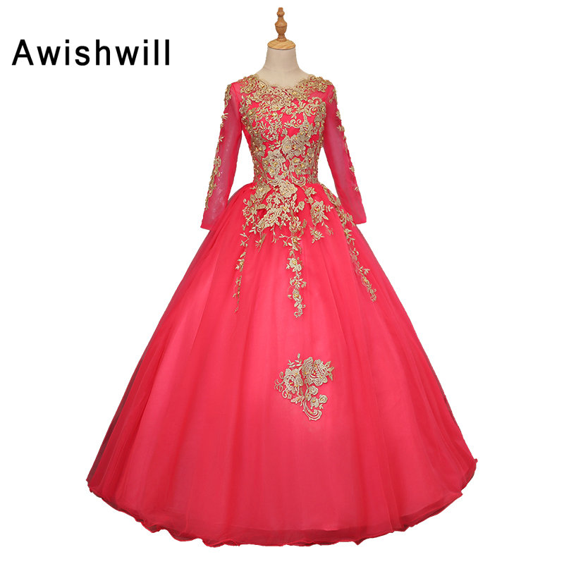 Custom Made Gold Lace Hot Pink Ball Gown Prom Dresses 2018 New Style ...