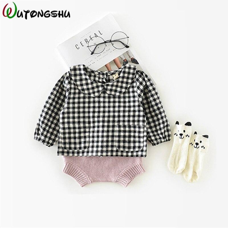 Baby Mädchen Bluse Japan Stil Plaid Top Kleidung Für Neugeborene Kinder Langarm Baumwolle Baby Mädchen Kleidung Für 0- 24 M VerrüCkter Preis
