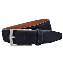 الرجال الفاخرة الطبقة الأولى جلد البقر nubuck حزام جلد عالية الجودة مصمم جلد الغزال مثل جلد طبيعي لفستان/الأعمال