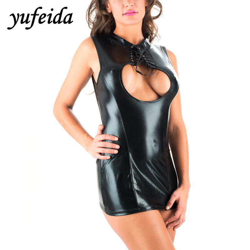 Buy Sexy Women Black Wet Look Micro Mini Catsuit Fetish Clubwear PVC Erotic Leotard Costumes  Party Leather Dress Latex Bodycon